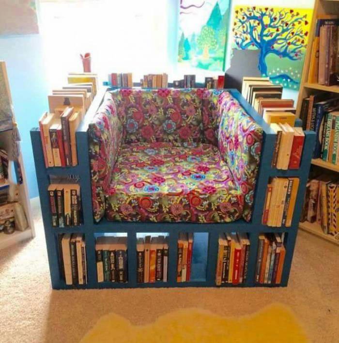 a perfect seat for reading, book shelf