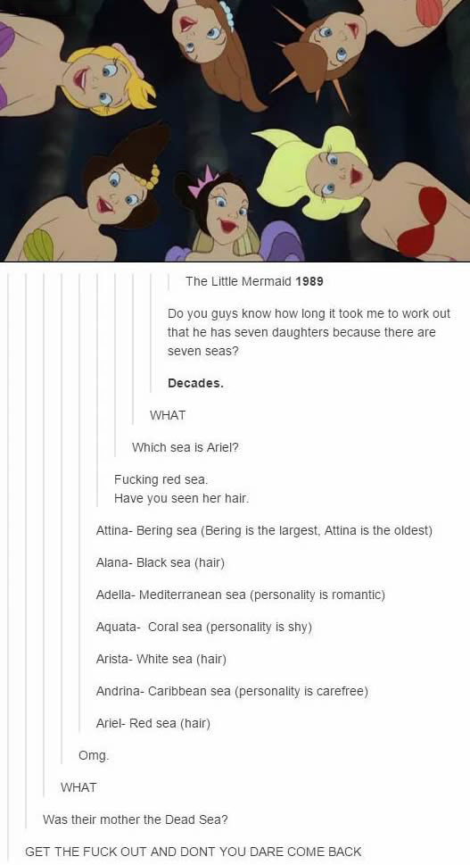 realization about the little mermaid 1989, he has seven daughters because there are seven seas, ariel is the red sea