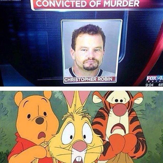 winnie the pooh characters react to christopher robin's murder conviction