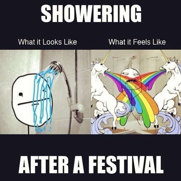 showering after a festival, what it looks like, what it feels like