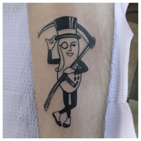 a good tattoo for someone with a peanut allergy, mr peanut as death holding a scythe