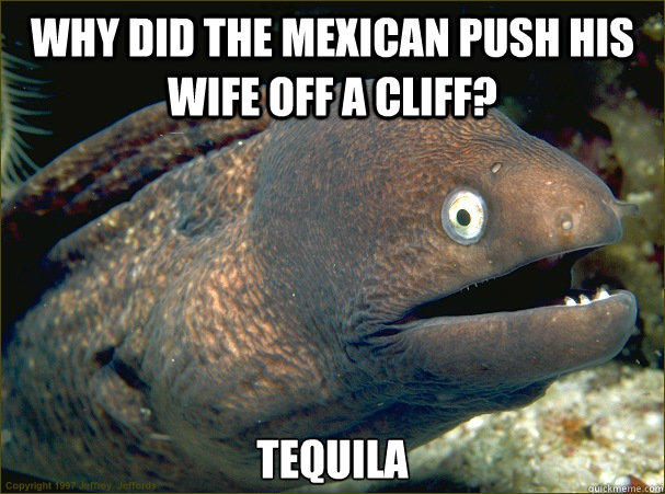 why did the mexican push his wife off a cliff, tequila, bad joke eel, meme