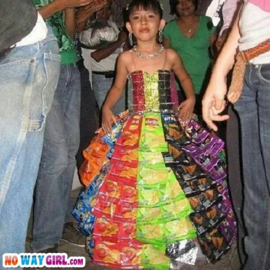 little girl wearing a dress made of a chip bags