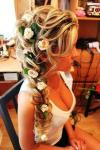 lovely lady with flowers in her hair, cleavage