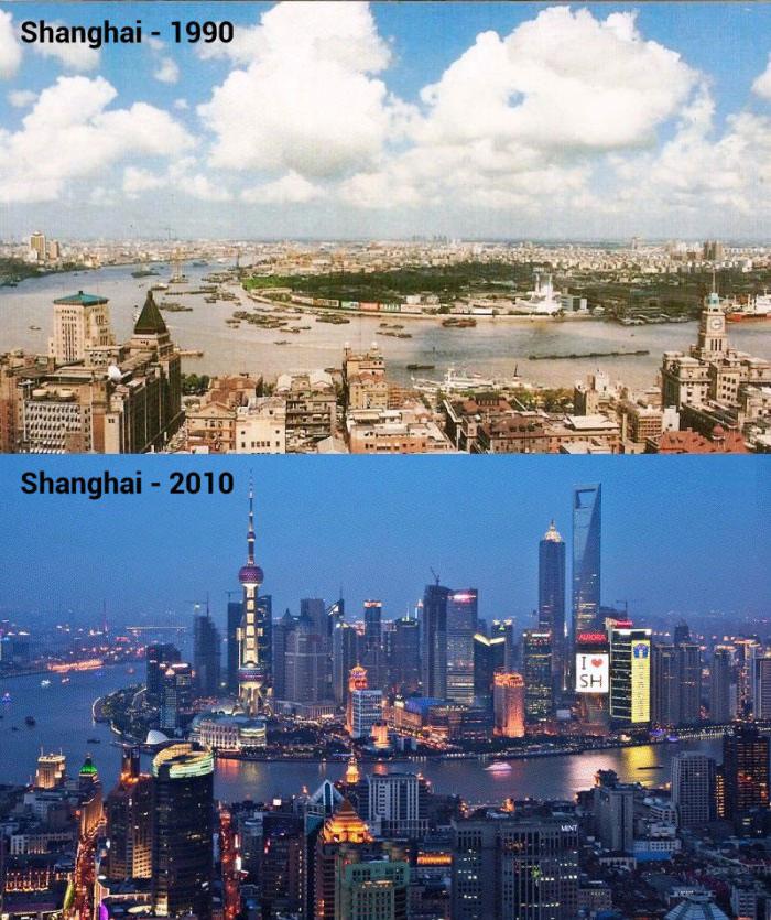 shanghai 1990, shanghai 2010, major cityscape transformation