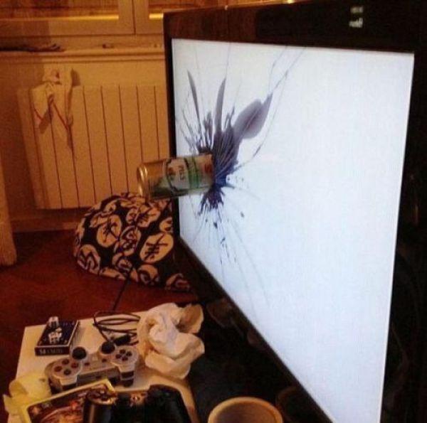 beer can through flat screen tv, rage quit, fail
