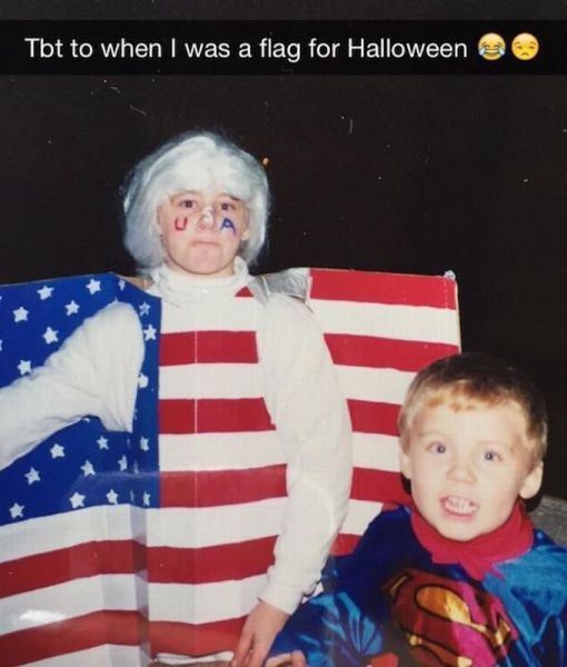 tbt to when i was a flag for halloween, costume