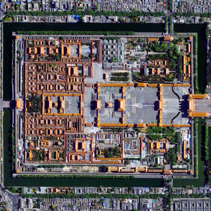 forbidden city seen from space, Palace in Beijing, China