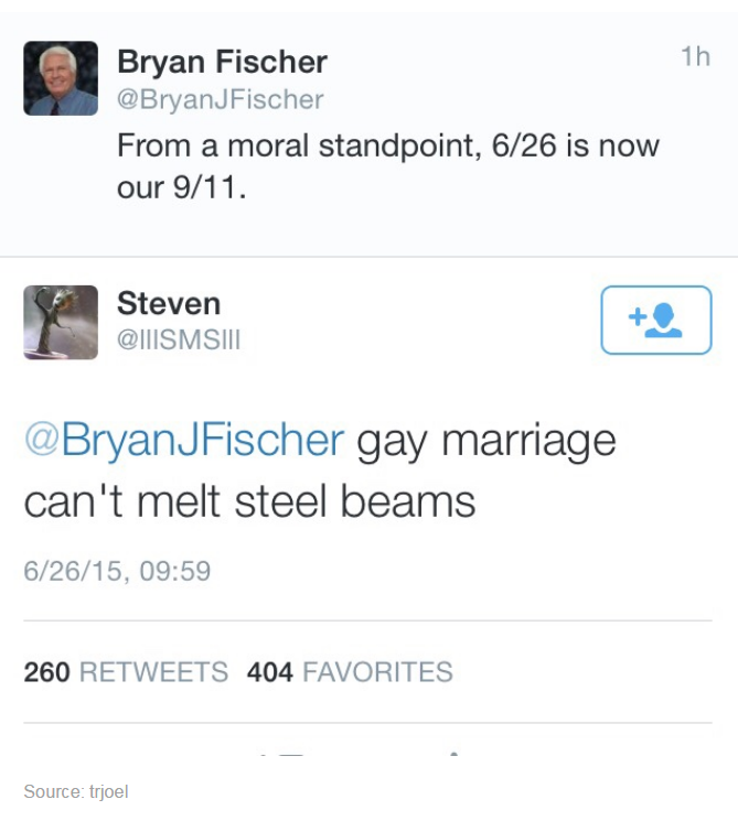 from a moral standpoint 6-26 is now our 9-11, gay marriage can't melt steel beams, twitter