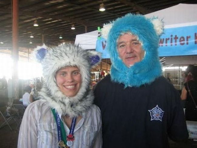 bill murray and a friend wearing furry hats