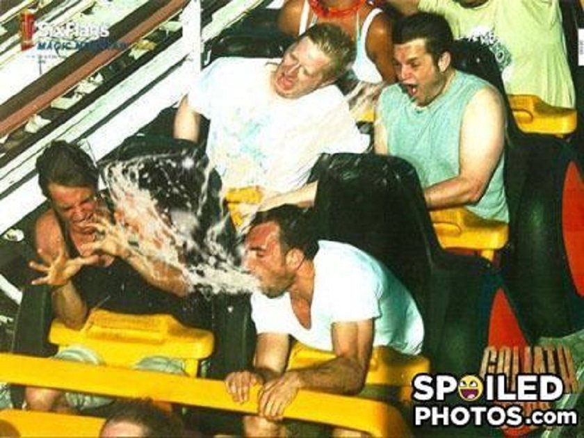 guy caught on camera throwing up on rollercoaster, eww