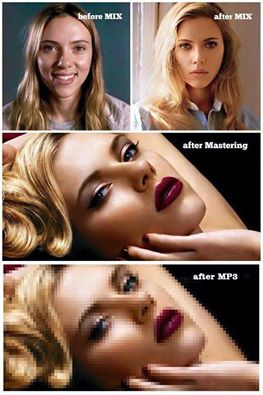 music production process explained by scarlette johanson's face, before mix, after mix, after mastering, after mp3