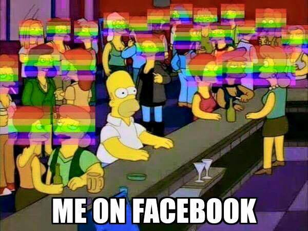 me on facebook, transparent rainbow flag over profile picture, lgbt pride