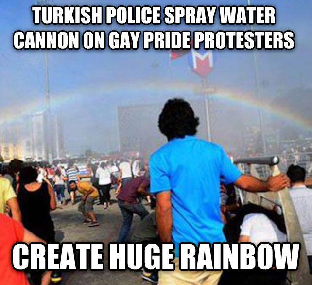 turkish police spray water cannon on gay pride protesters, create huge rainbow, meme, fail
