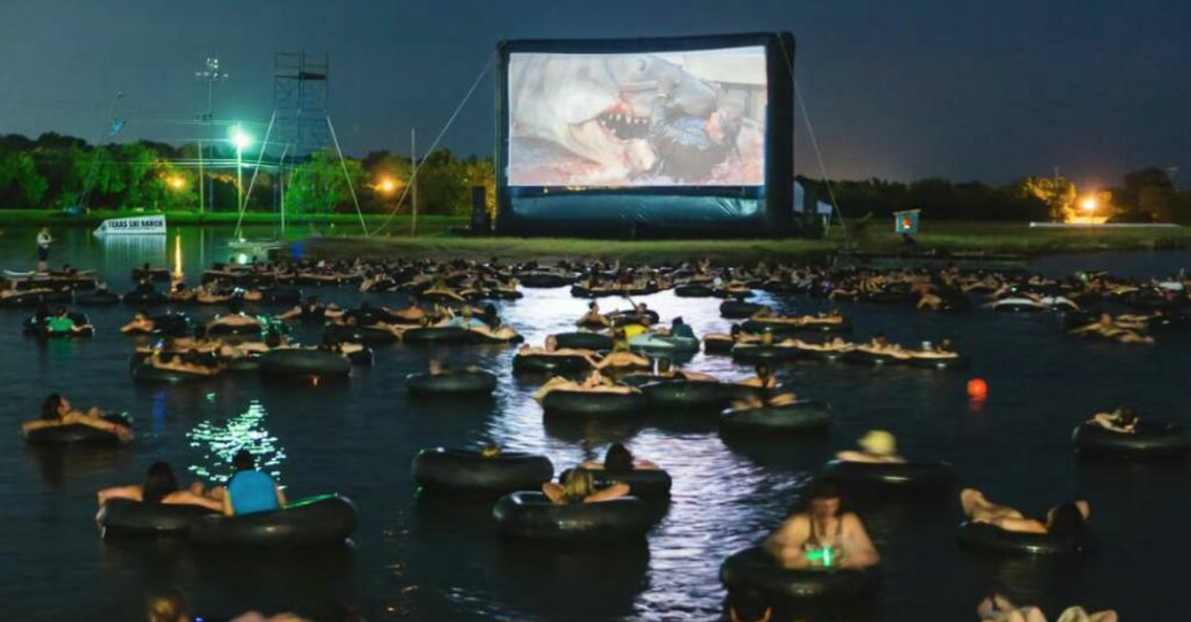 best way to watch the movie jaws, watching jaws on a big screen in a giant pool on tubes