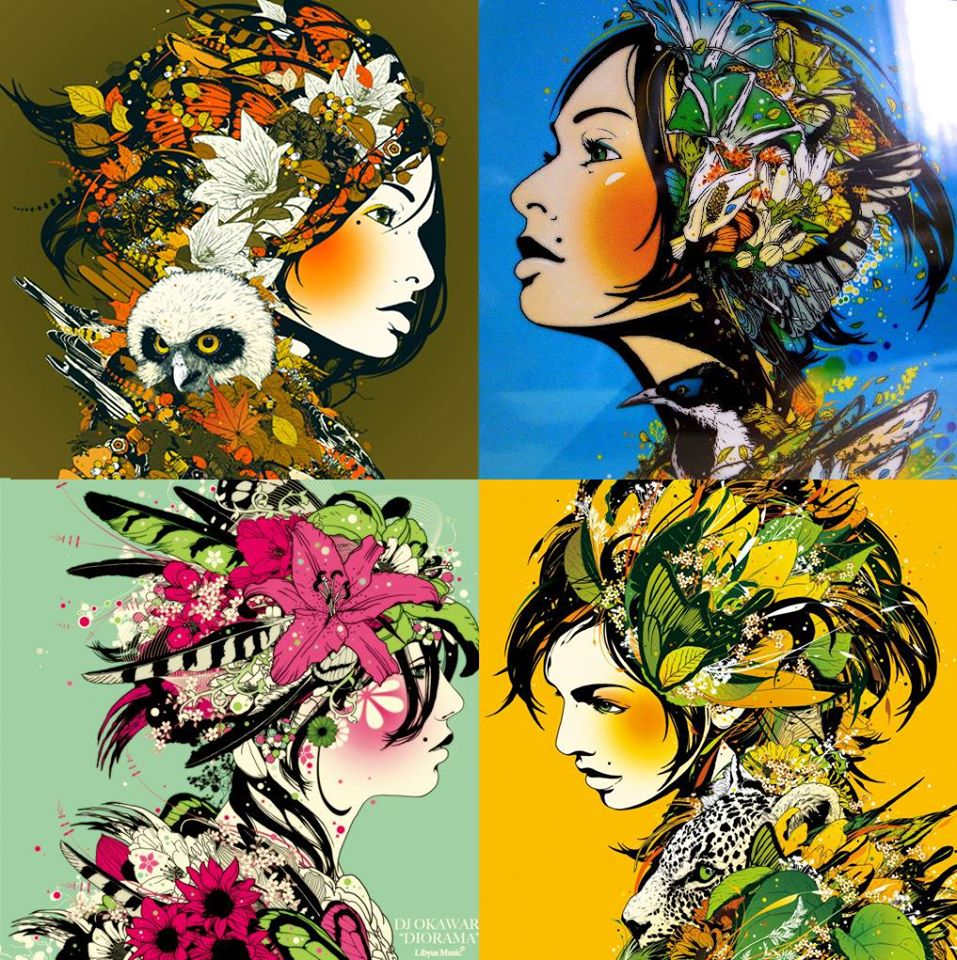 colorful flower girls art