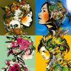 colorful flower girls art