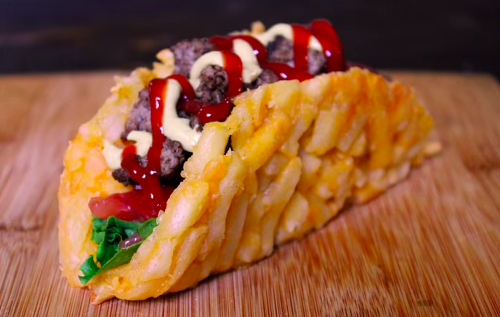 this french fry burger taco proves that happiness comes in many forms