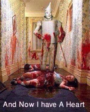 and now i have a heart, tin man in hallway blood bath