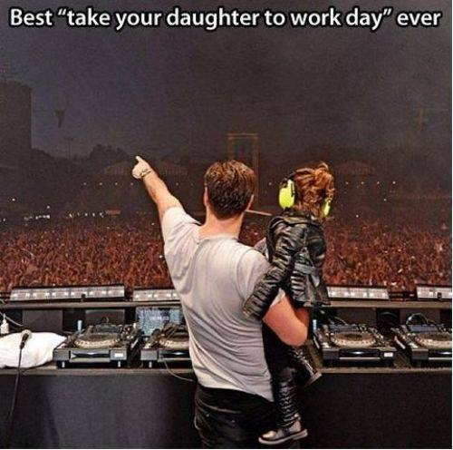 best take your daughter to work day ever, dj holds daughter in front of huge crowd