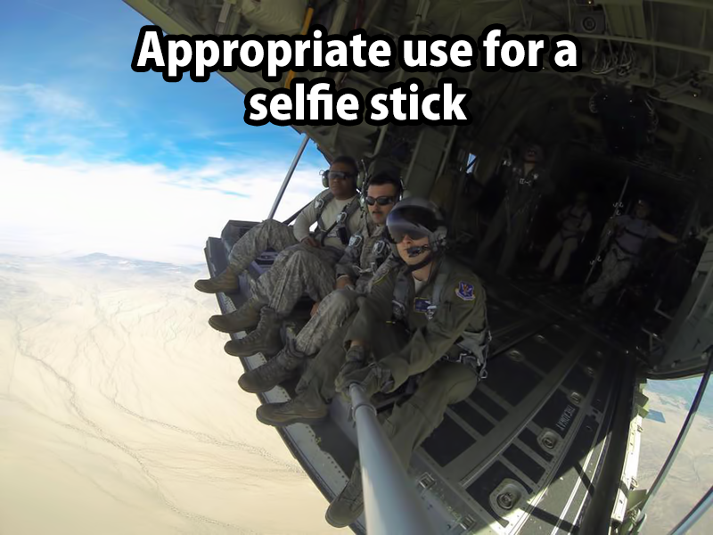 appropriate use for a selfie stick, selfie on military air transport