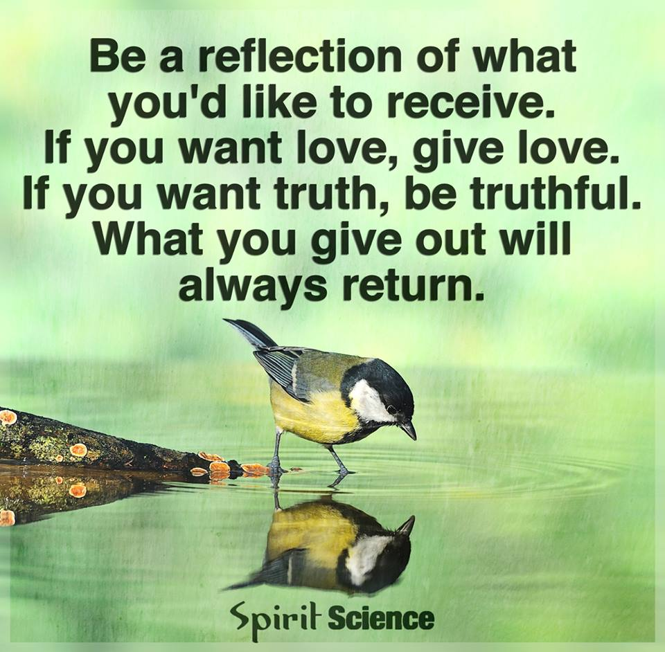 be a reflection of what you'd like to receive, if you want love give love, if you want truth be truthful, what you give out will always return