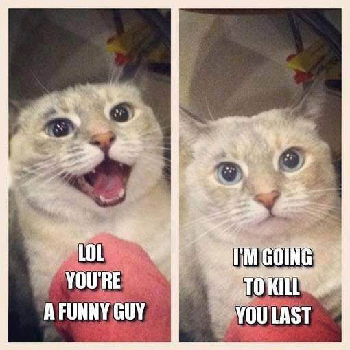 lol you're a funny guy, i'm going to kill you last