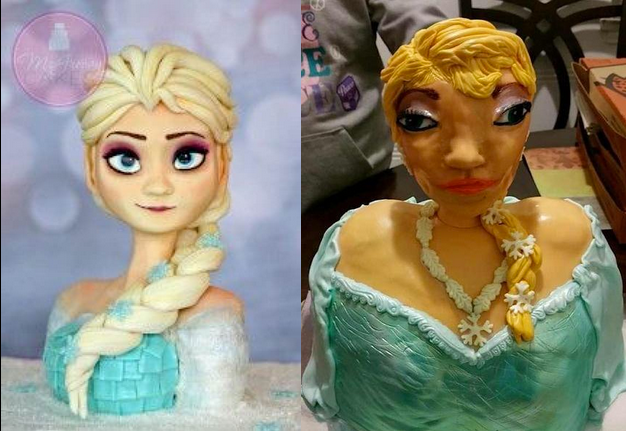 the cake that was ordered and the cake that arrived, frozen, fail