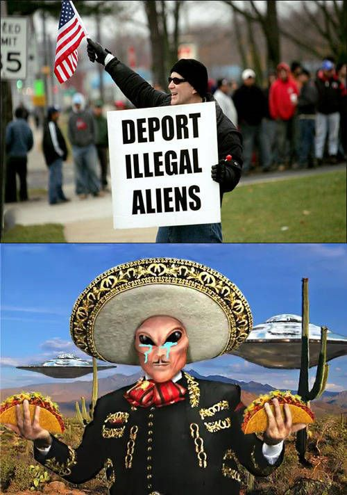 deport illegal aliens, stereotypical mexican alien crying