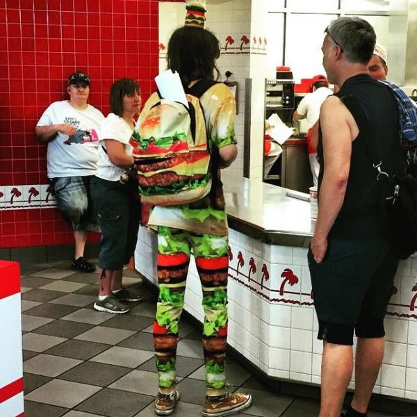 appropriate attire for eating at a fast food restaurant, hamburger motif shirt bag and pants, wtf