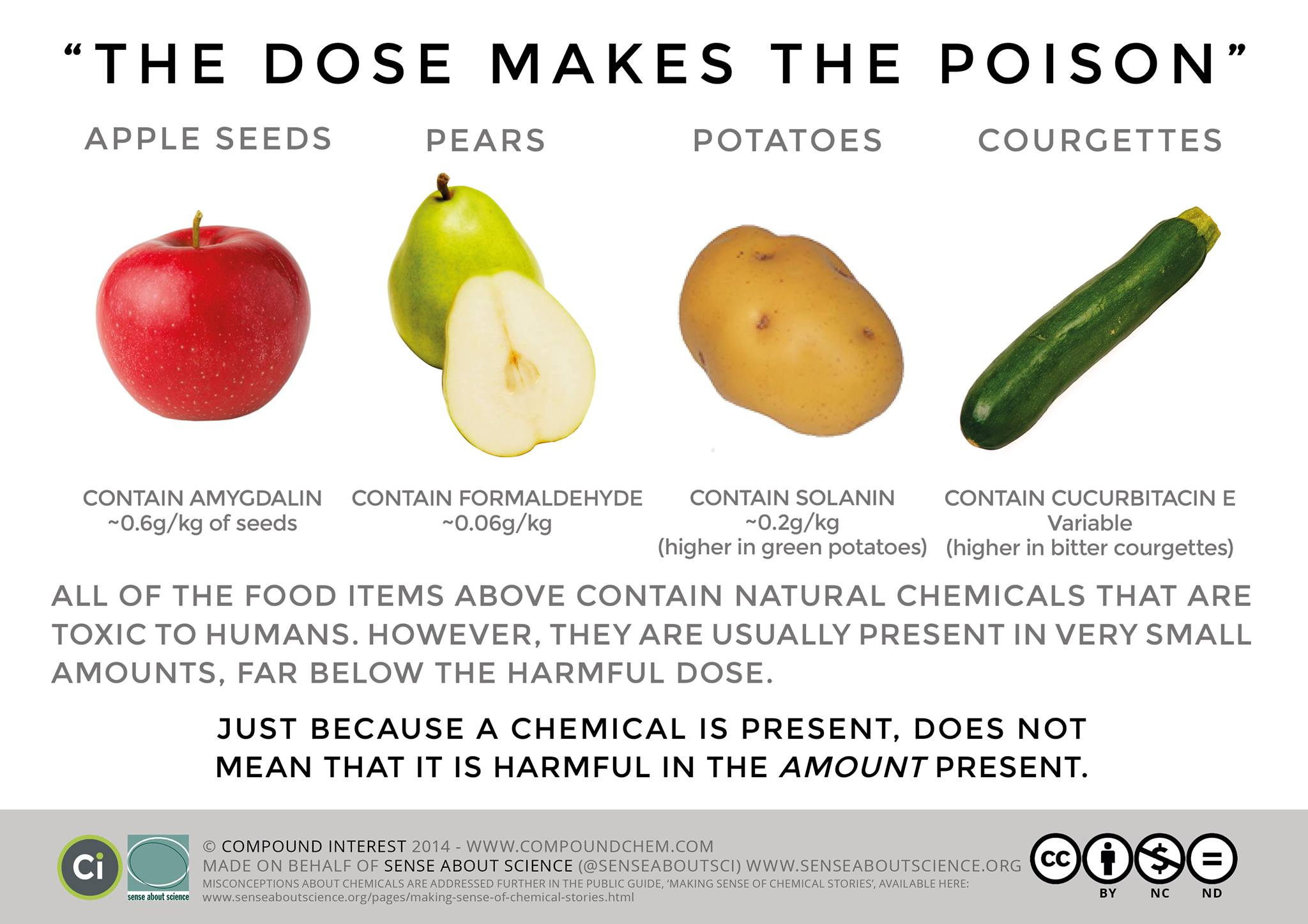 the dose makes the poison, apple seeds, pears, potatoes, courgettes