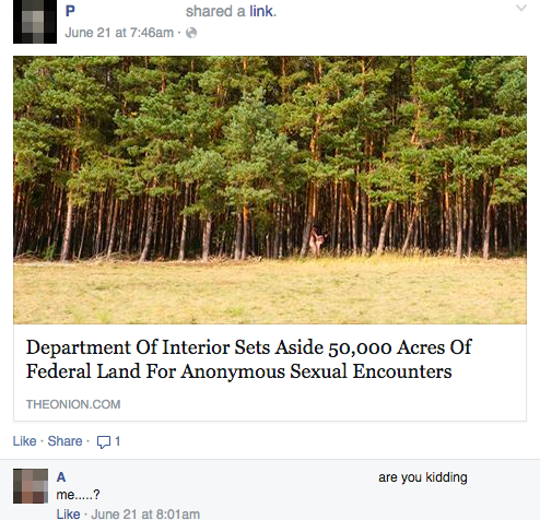 department of interior sets aside 50000 acres of federal land for anonymous sexual encounters, when people think the onion is a real news site
