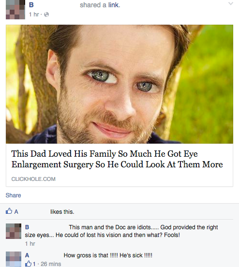 this dad loved his family so much he got eye enlargement surgery so he could look at them more, when people think the onion is a real news site