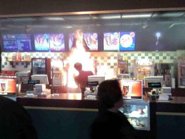 when your favorite fast food restaurant burns your fries and their menu, fire at a fast food counter, wtf