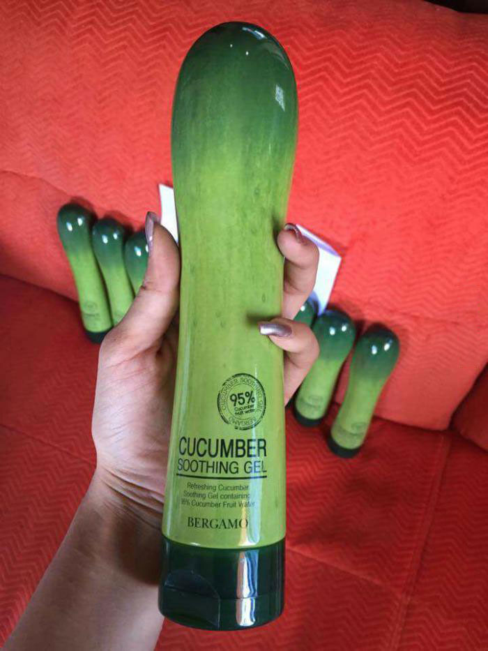 an interestingly shaped cucumber soothing gel bottle