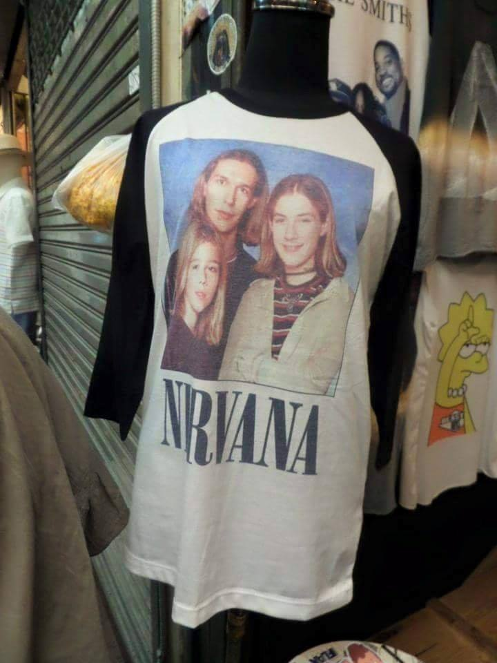 nirvana t-shirt with a picture of the hanson brothers on it, fail