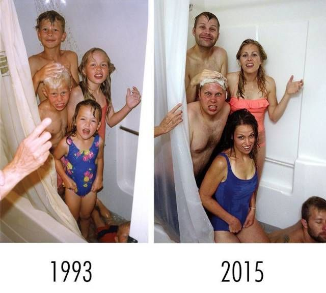 siblings in the shower then and now, 1993, 2015