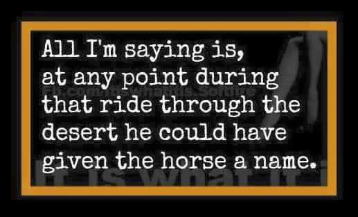 all i'm saying is at any point during that ride through the desert he could have given the horse a name