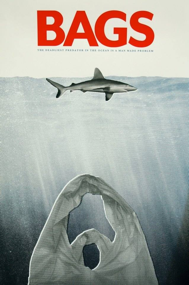 bags and other ocean pollution, jaws parody movie poster