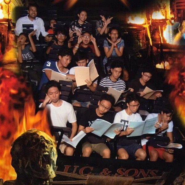 this is how asians have fun, studying on a rollercoaster