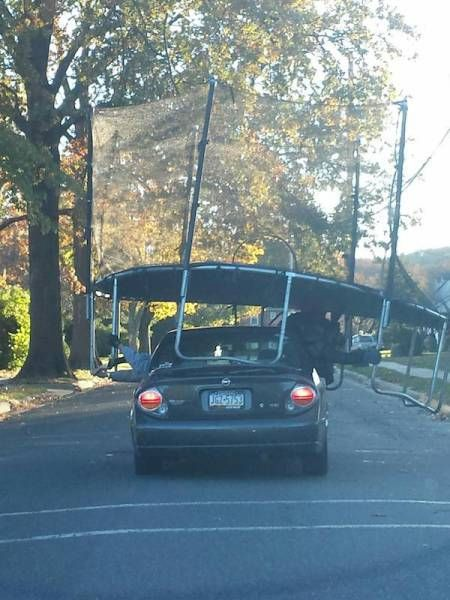 when you want to get a jump on that road trip, car transporting fully assembled trampoline