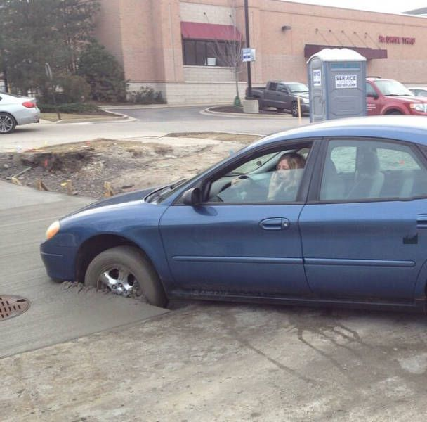 car driven into wet cement, driving fail