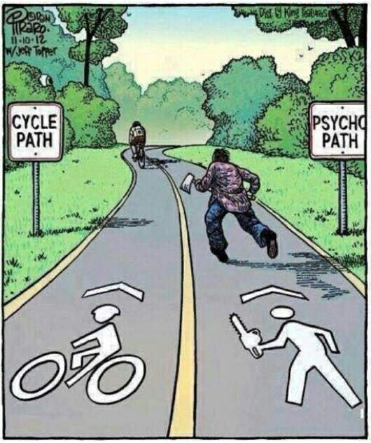 cycle path, psycho path, axe, chainsaw, comic