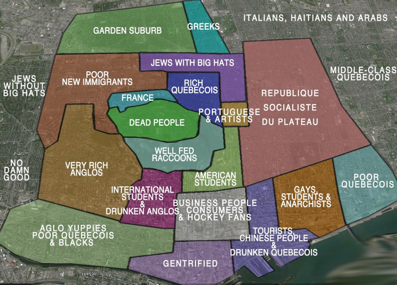 downtown montreal stereotypes map, lol