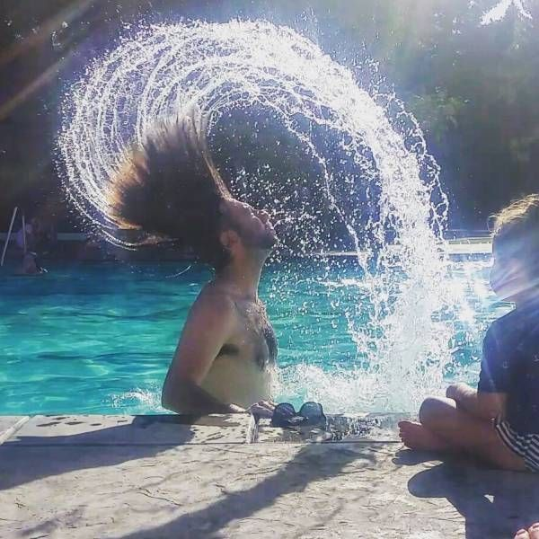 fabulous long hair water whip in pool