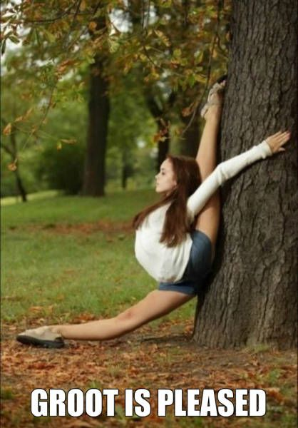 groot is pleased, flexible girl on tree