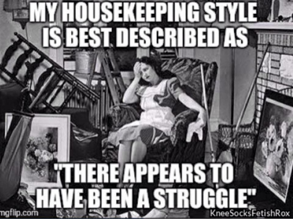 my housekeeping style is best described as there appears to have been a struggle, meme