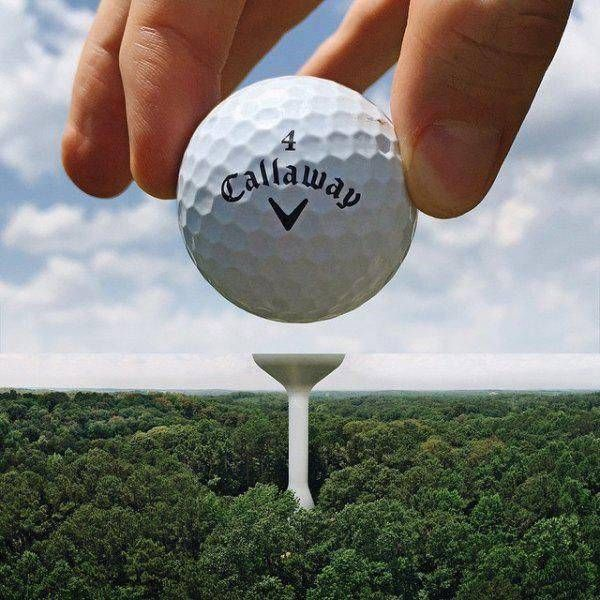golf ball being placed on a water tower in the distance, perspective