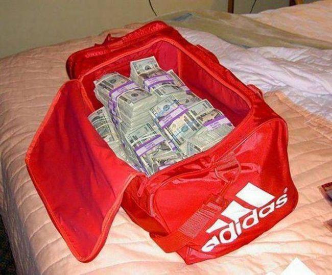 adidas bag full of cash