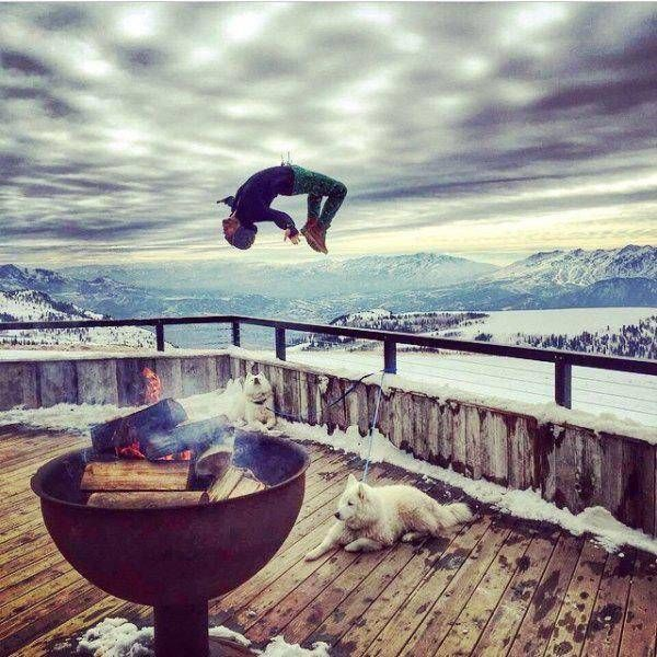 backflip off a fence with two huskies and glorious mountains on the horizon
